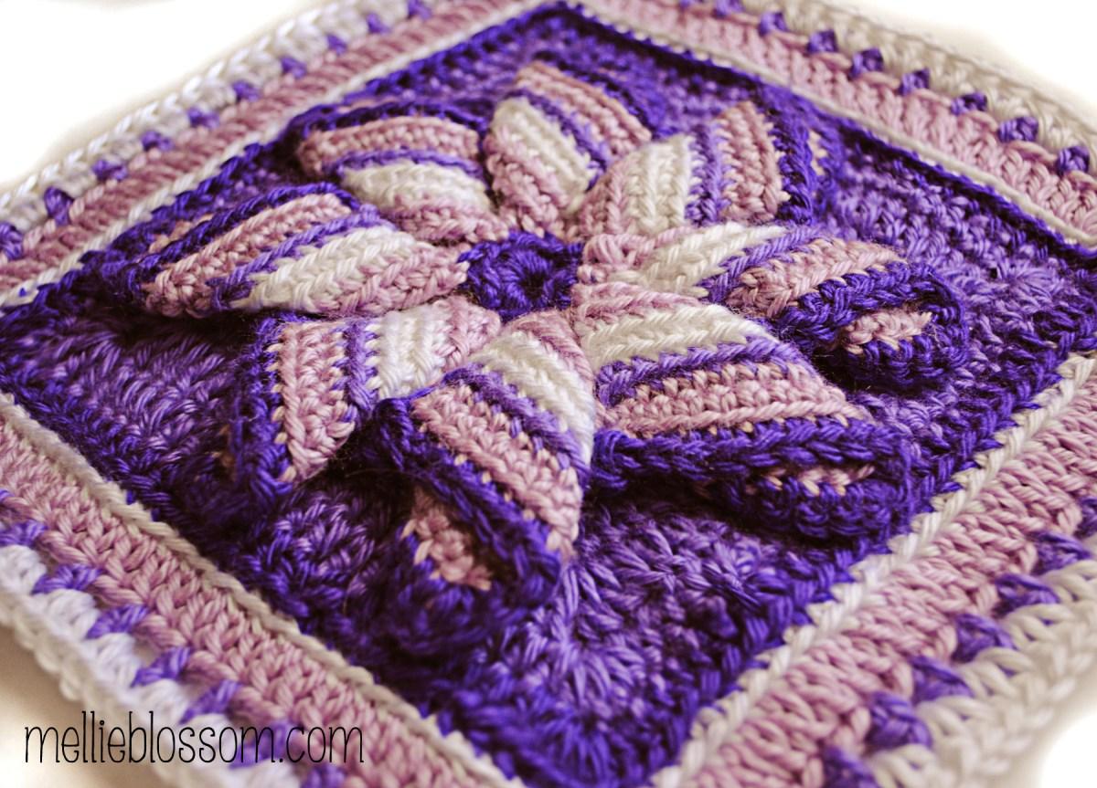 Crochet Pinwheel Square - Purple