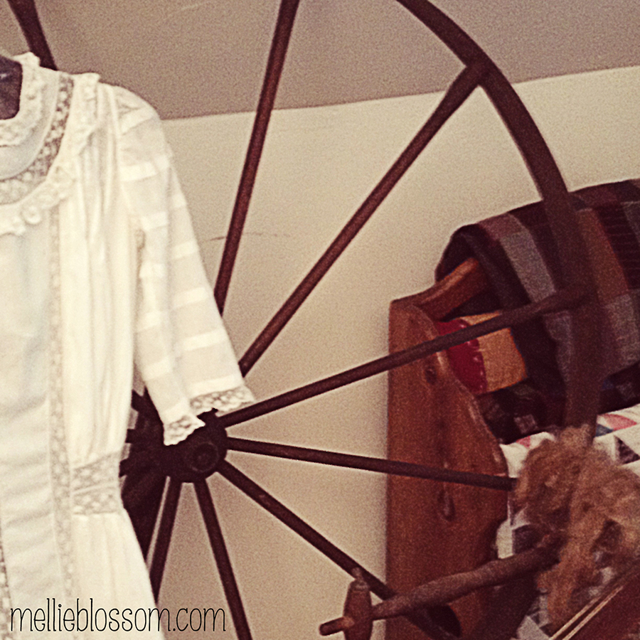 19th Century Dress and Spinning Wheel