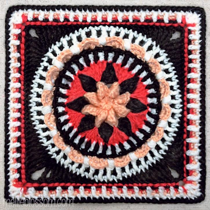 2016 Crochet Along Squares -Mattie's Flower - mellieblossom.com