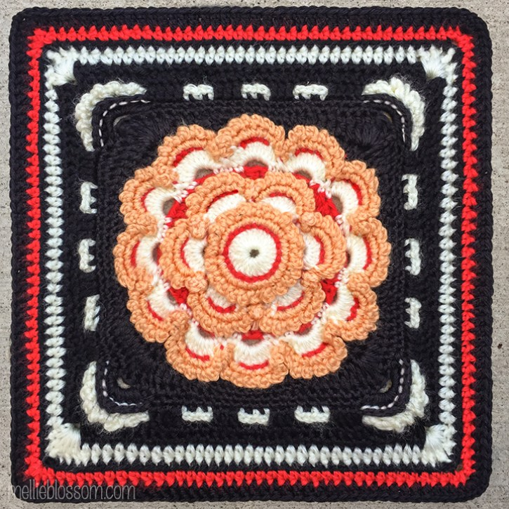 Queen of the Meadow Crochet Square - Crochet Along Square - mellieblossom.com