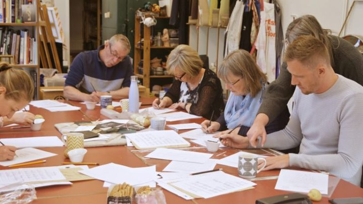 Hand lettering & Calligraphy workshops at Warton Hall as part of National Garden Scheme with Mellor and Rose in Lancashire