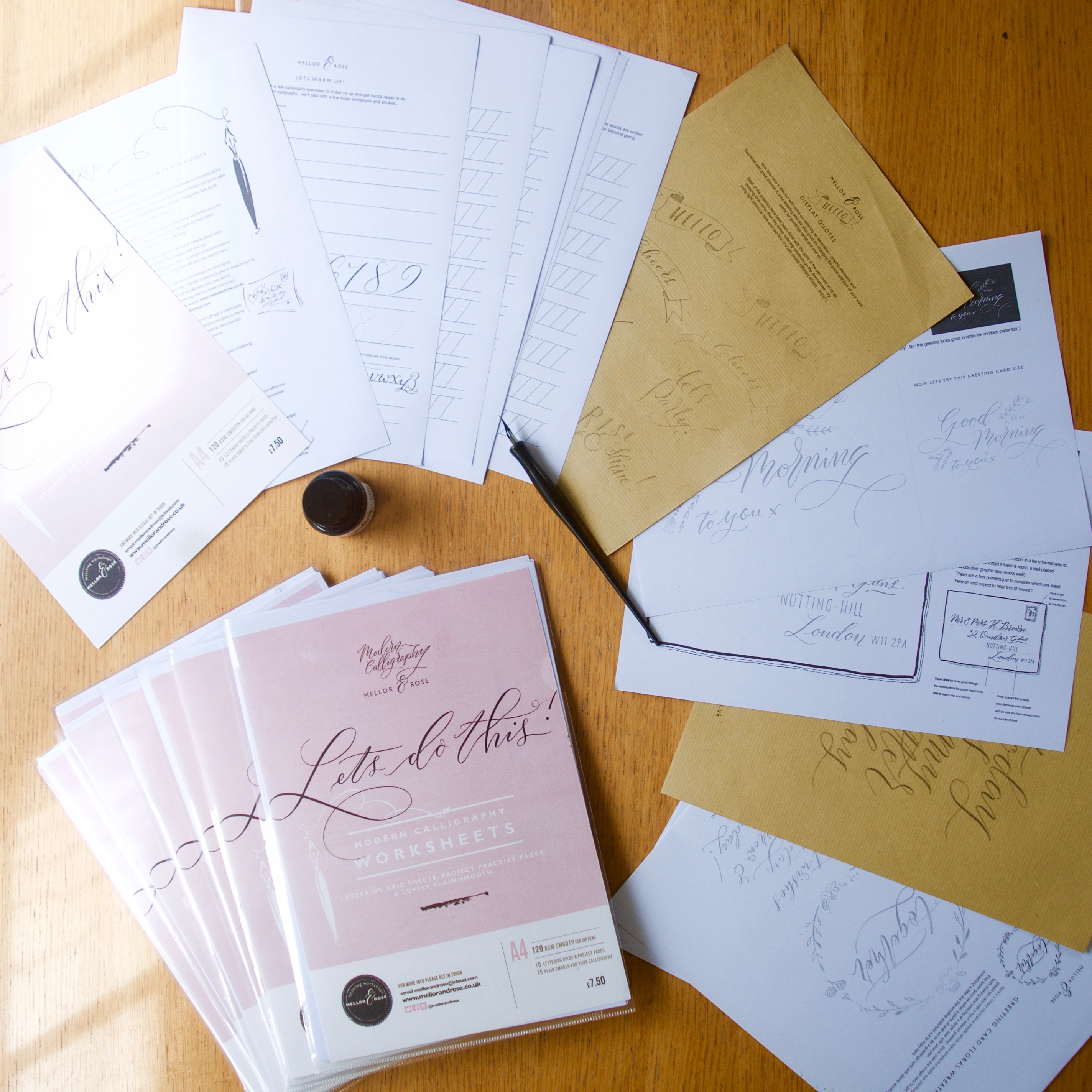Mellor & Rose Modern Calligraphy worksheets
