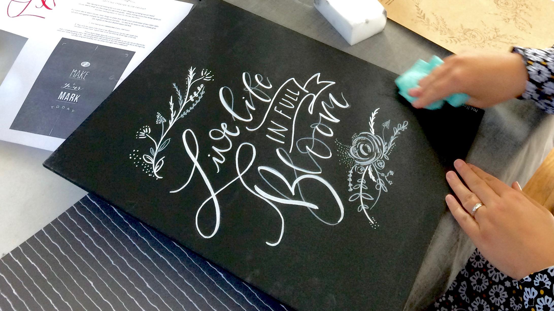 Chalk Lettering workshop with Mellor & Rose