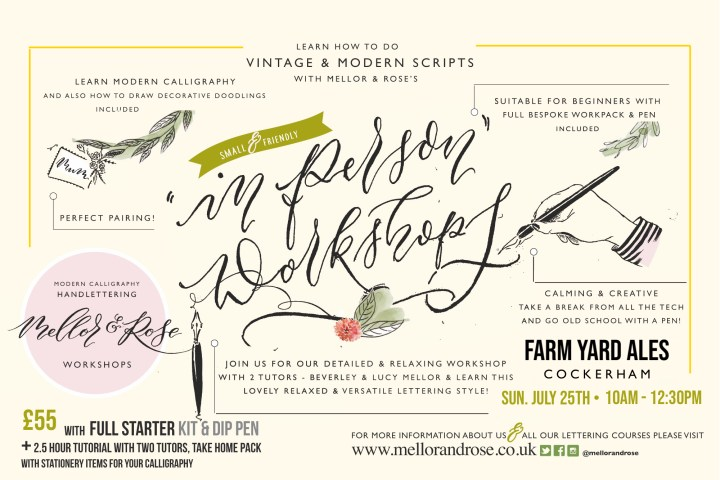 Farm Yard Ales Calligraphy Workshop with Mellor & Rose