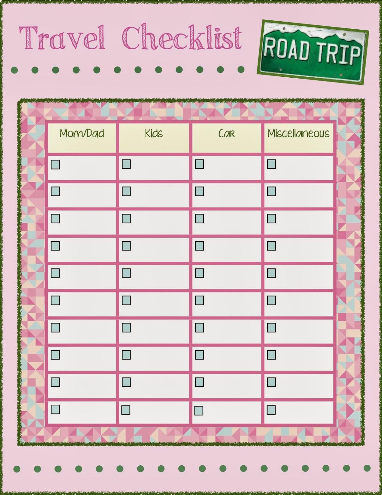 Vacation Checklist Samples
