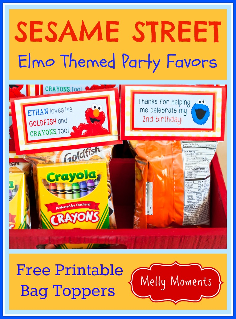 Sesame street elmo themed birthday party download a general version saying elmo instead of a childs name see the end of this post there are 3 templates of the bag topper offered first solutioingenieria Image collections