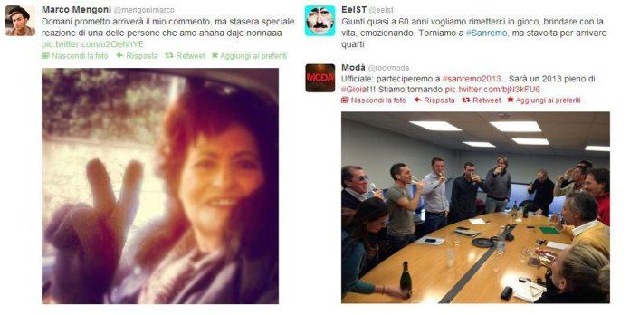 Le reazioni dei Big di Sanremo 2013 sui Social Network