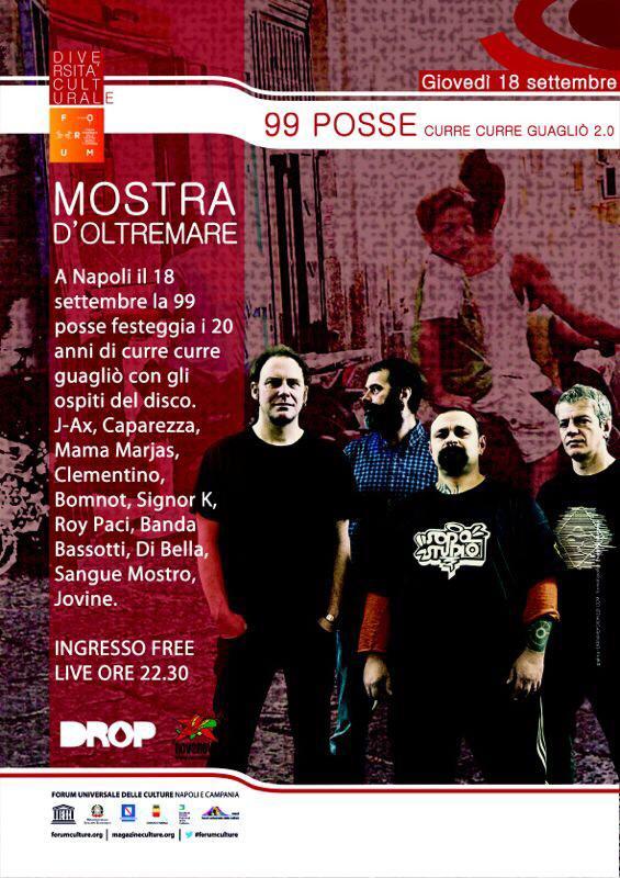 """99 Posse, """"Curre Curre Guagliò 2.0"""" un concerto gratuito a Napoli"""