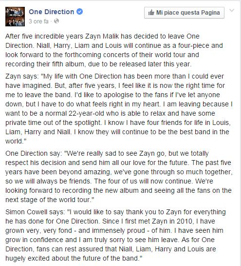 Il messaggio con cui i One  Direction hanno annunciato l'abbandono di Zayn Malik