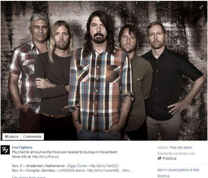I Foo Fighters in Italia con 2 tappe del tour europeo | © Facebook