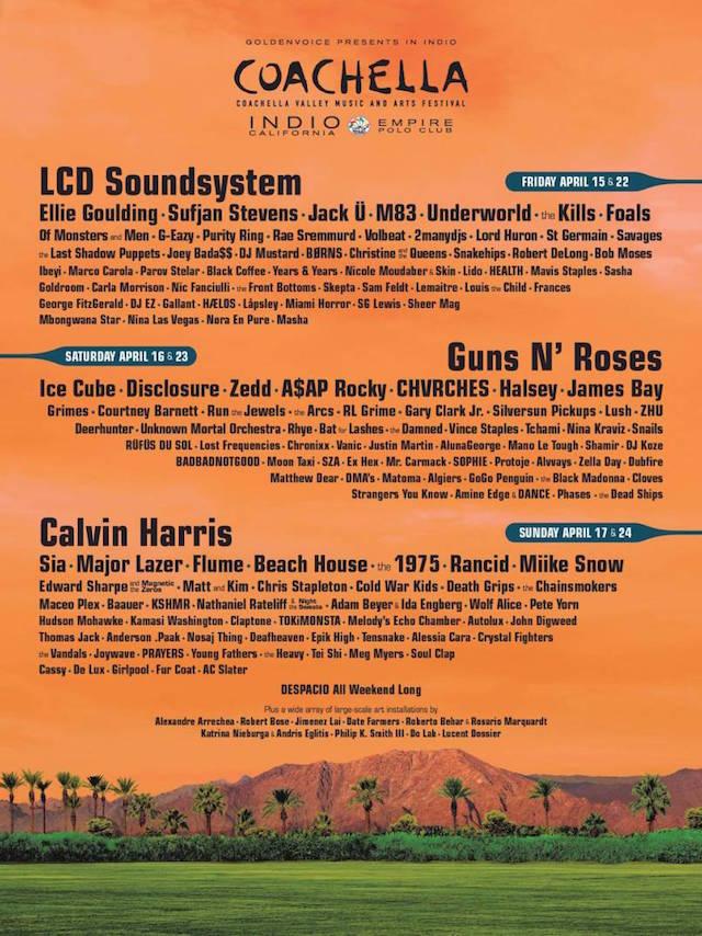 Line Up Coachella Festival con i Guns 'N Roses
