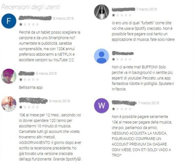 recensioni utenti contro Spotify