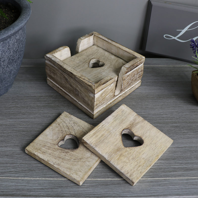 country style wooden heart coasters in holder