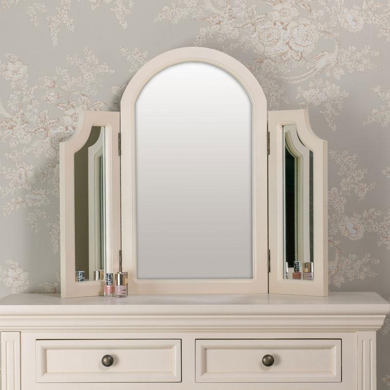 dressing table and tabletop vanity mirror set daventry cream range