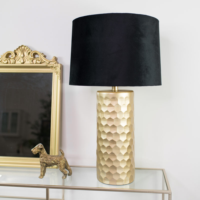 gold honeycomb lamp with black velvet shade