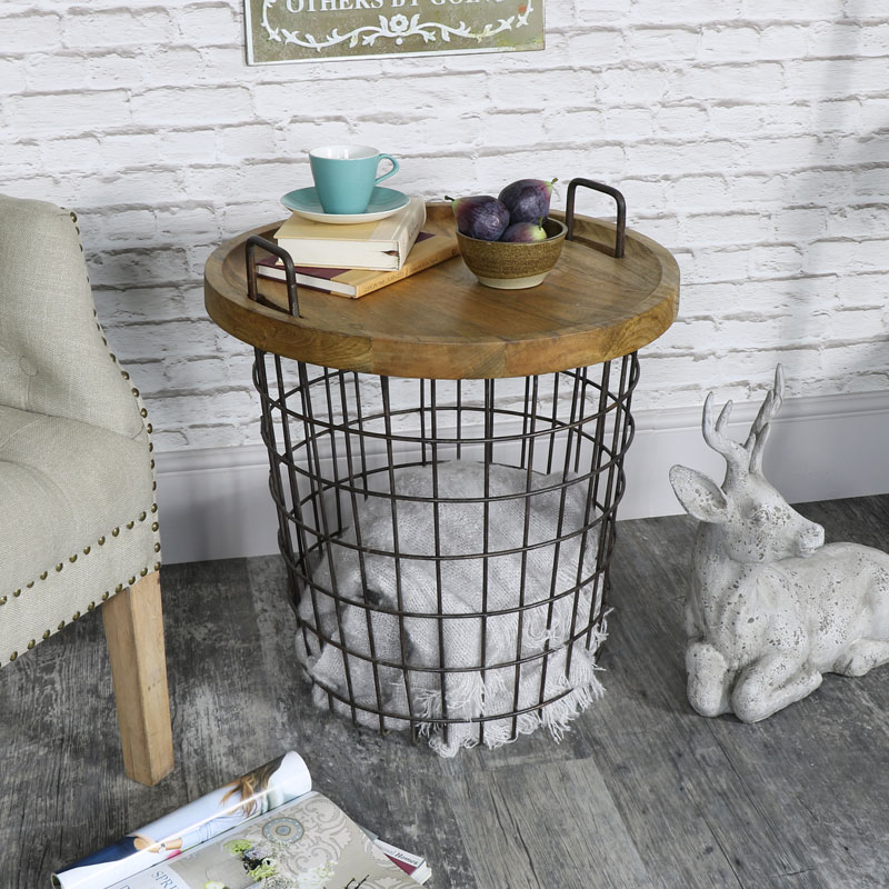 black metal industrial basket storage occasional table