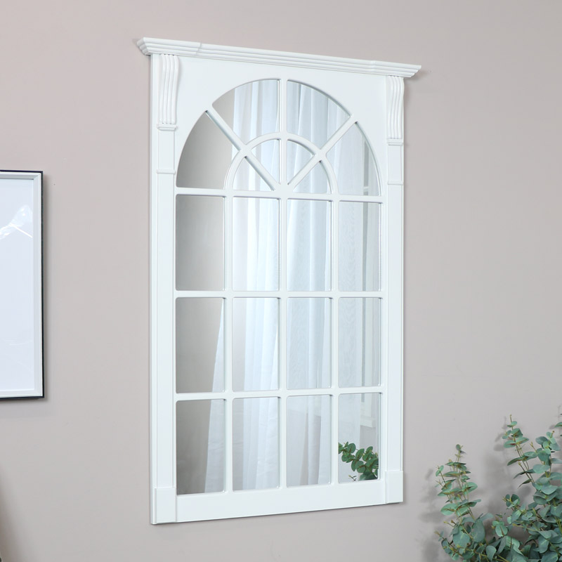 large white wooden window mirror