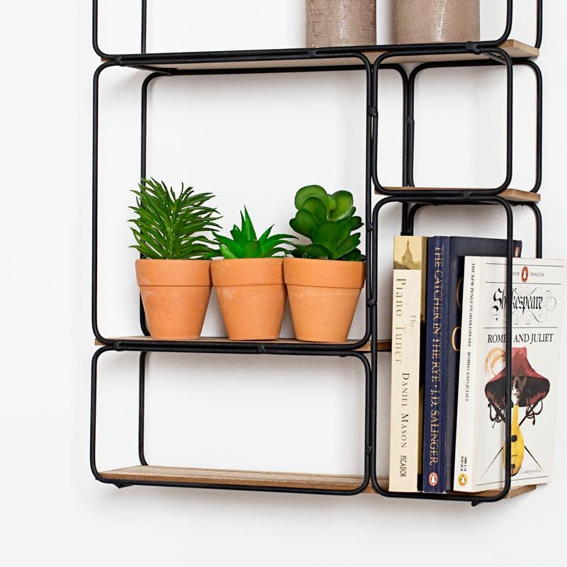 rectangle noir cable bois art deco retro mural etagere presentation maison ebay