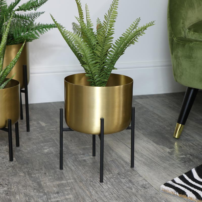 Round Gold Plant Stand Medium Melody Maison