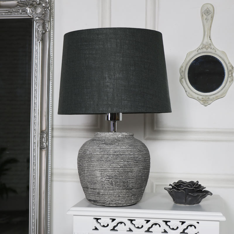Rustic Grey Stone Round Table Lamp Melody Maison