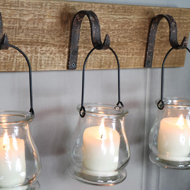 Rustic wall mounted hook glass jar lantern tealight candle ... on Wall Mounted Candle Holder id=59510