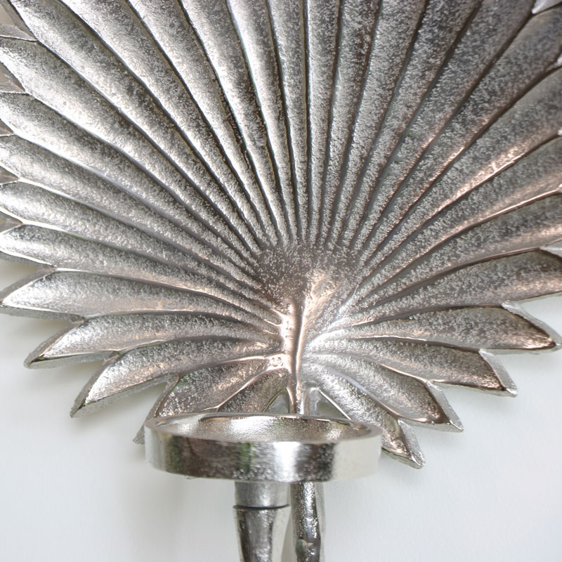 Silver Leaf Wall Mounted Candle Sconce - Melody Maison® on Silver Wall Sconces For Candles id=89387