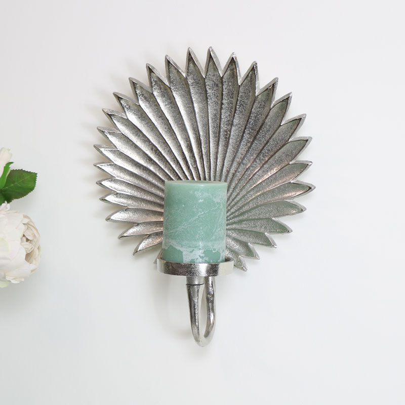 Silver Leaf Wall Mounted Candle Sconce - Melody Maison® on Silver Wall Sconces For Candles id=38600