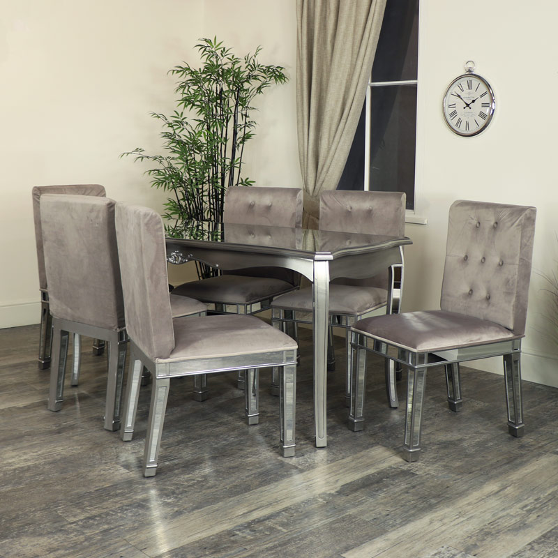Silver Mirrored Dining Table 4 X Chair Set Tiffany Range Damaged Second 3989 Melody Maison
