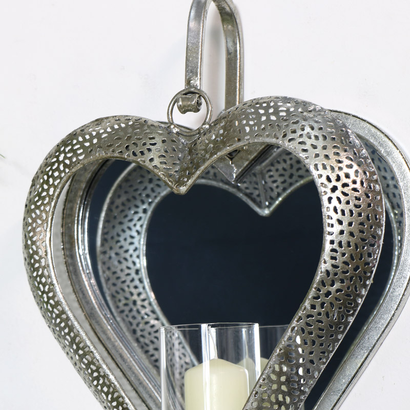 Silver Mirrored Heart Candle Sconce - Melody Maison® on Silver Wall Sconces For Candles id=23926