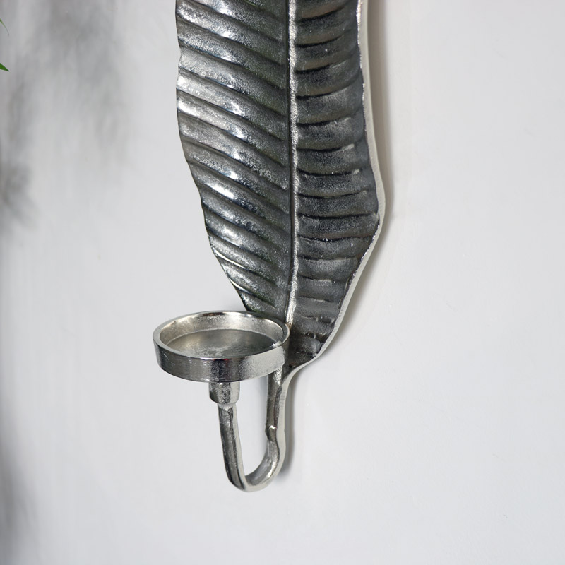 Wall Mounted Silver Leaf Candle Sconce - Melody Maison® on Silver Wall Sconces For Candles id=35988