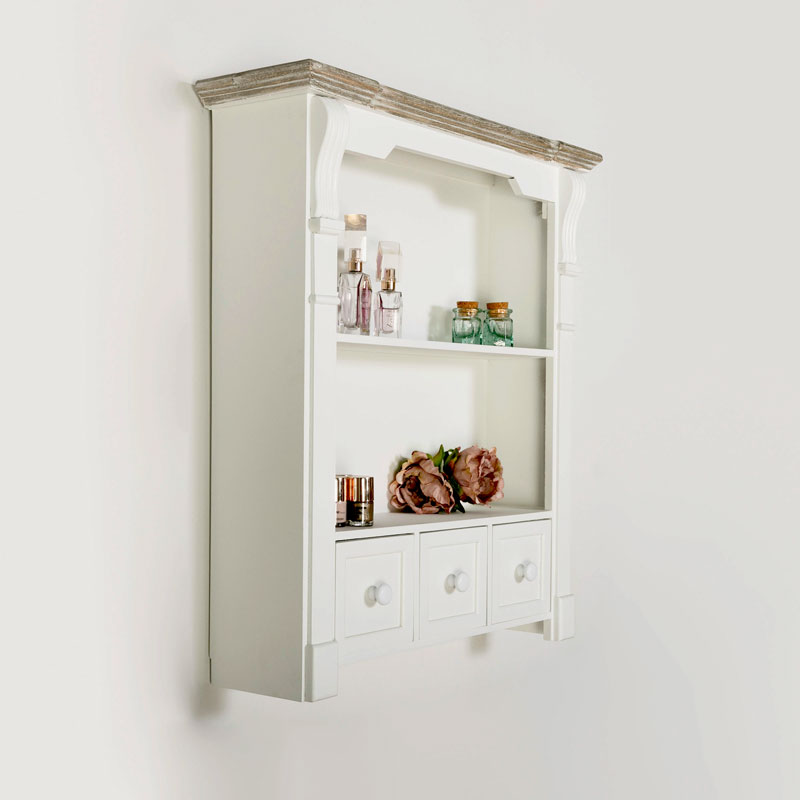 White Wall Shelf Unit Daventry White Range Melody Maison