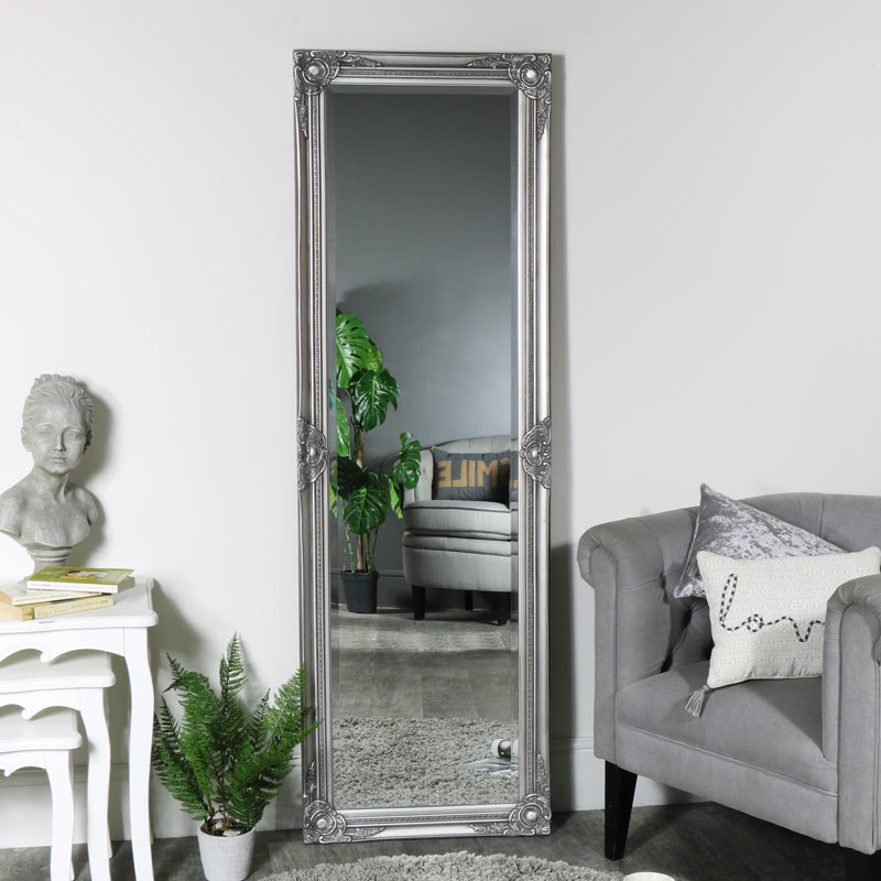 Tall Slim Floor Leaner Wall Mounted Mirror Vintage French Living Room Bedroom Ebay