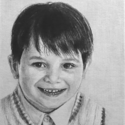 "Evan, 2012, Graphite Pencil Drawing on Paper, 5""x7"""