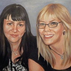 "Lesley and Lindsay, 2012, Full Colour Acrylic Painting on Canvas, 14""x16"""