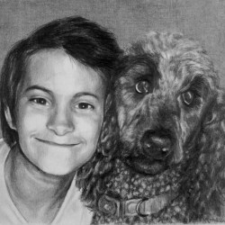 """Mason and Gracie, 2013, Graphite Pencil Drawing on Paper, 8""""x10"""""""