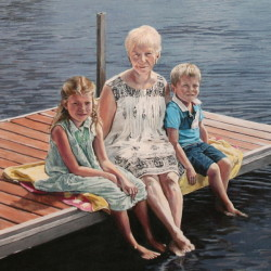 "Jillie, Nora and Tom, 2015, Family Group Portrait on Lake Dock, Full Colour Acrylic Painting on Canvas, 20""x26"""