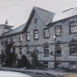 "Perth Portrait No. 4 (Code's Mill), 2012, Historic Building Portrait, Black and White Acrylic Painting on Canvas, 8""x10"""