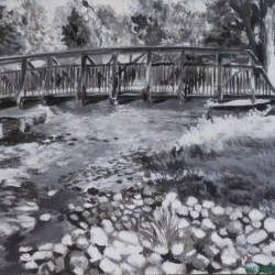 "Perth Portrait No. 5 (Green Bridge), 2012, Black and White Acrylic Painting on Canvas, 9""x11"""