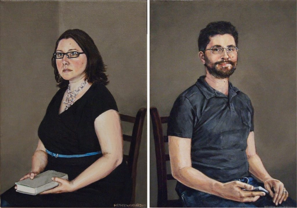 """Sarah & Carl, 2019, Acrylic Paintings on Canvas, 10"""" x 14"""" each"""