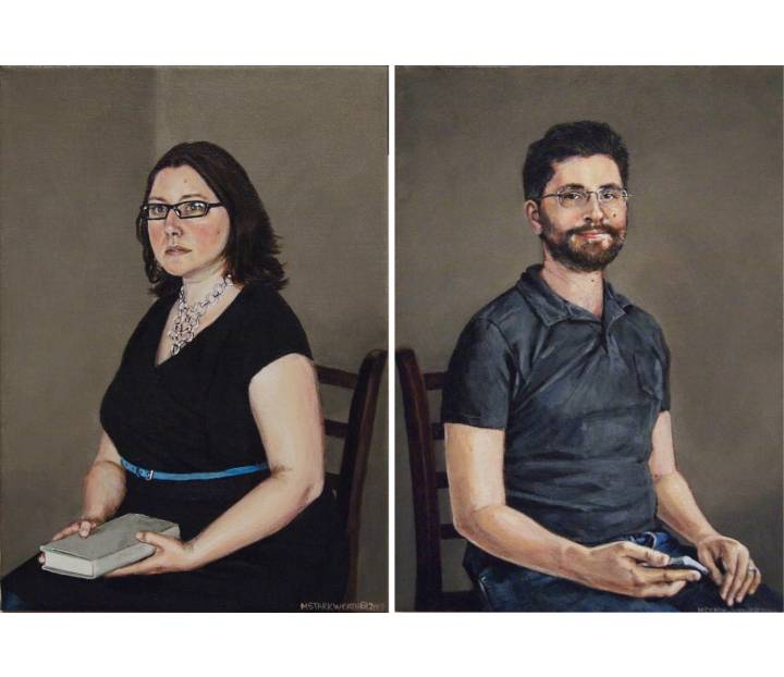 "Sarah & Carl, 2019, Acrylic Paintings on Canvas, 10"" x 14"" each"