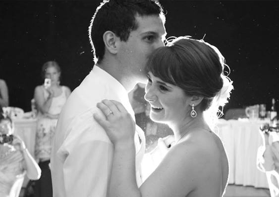 "Becca and Robby during their first dance to ""Marry You"""