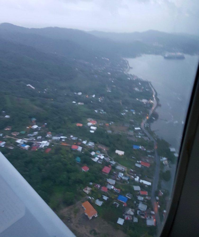 Approaching Roatan from the plane