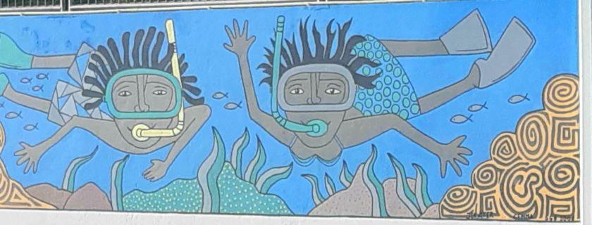 snorkelers mural bonaire