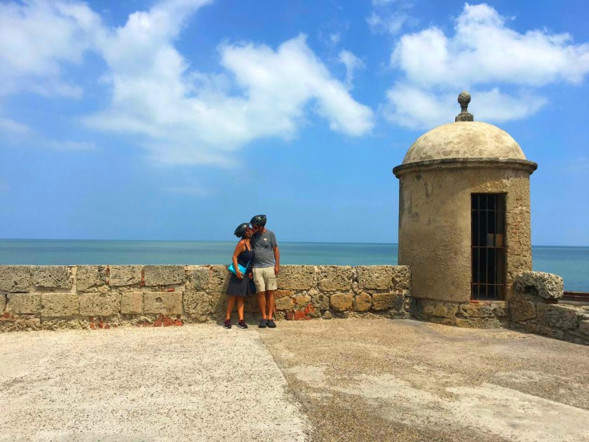bike tour of Cartagena stop along the wall