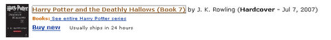 screenshot of july 7 release date for harry potter and the deathly hallows