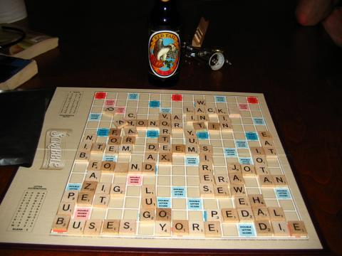 scrabble board with red tail ale
