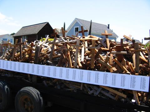 truck full of crosses