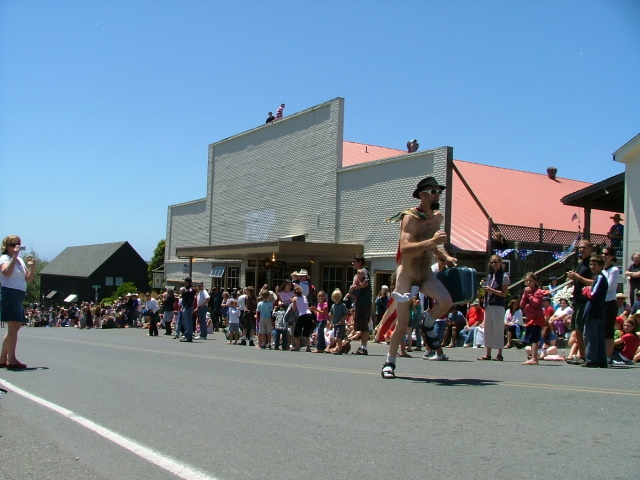 streaker at the mendocino fourth of july parade