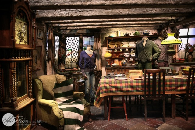 Weasley's house. Sweater being knitted by itself and clothes being ironed by invisible hands
