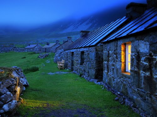 Blue Dusk, Stone Cottages, Wales